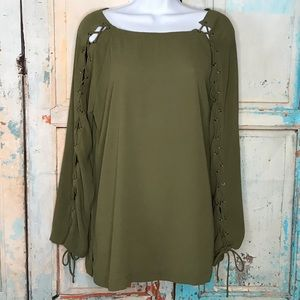 Greylin Anthro Long Sleeve Top Lace up Sle…
